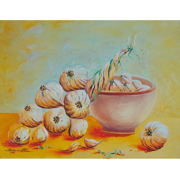 Garlic in Country Bowl 46x36cm- SOLD