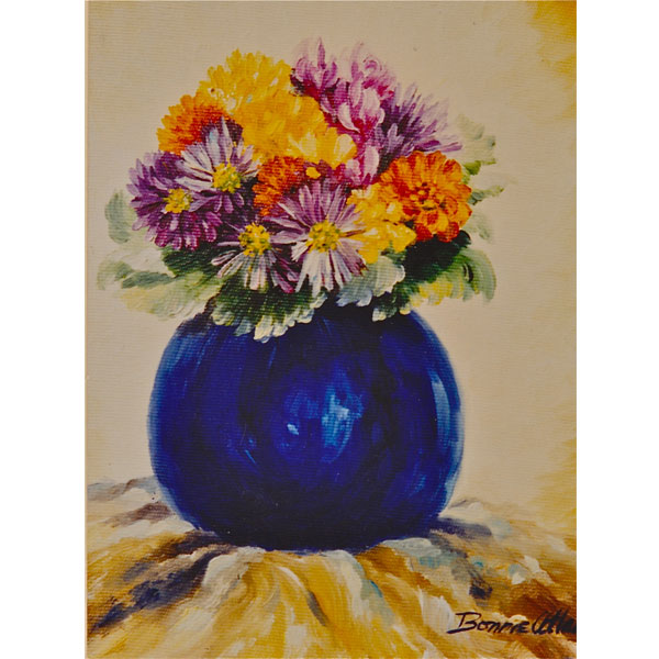 Dahlias in Blue Vase - SOLD