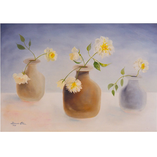 Three grey pots with white roses - SOLD