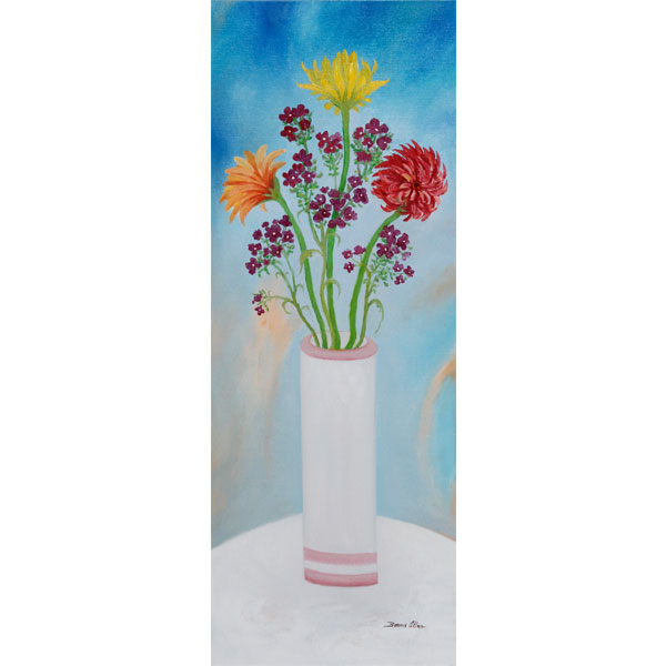 Three Gerber Daisies 30x80cm- SOLD