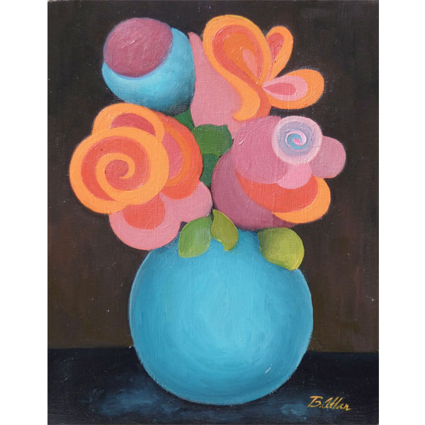 Modern Bouquet in Blue Vase-20x25cm- SOLD