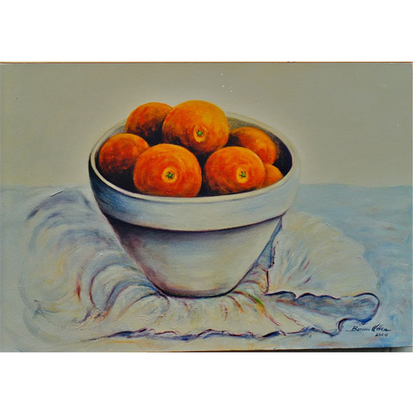 Oranges in Clay Bowl 26x36cm- SOLD