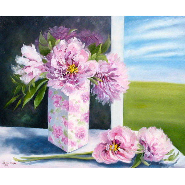 Peonies in Rectangular Vase 61x51cm - SOLD