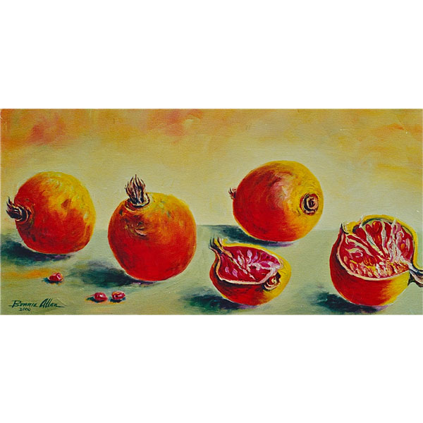 Persimmons on Green Table 20x40cm - SOLD