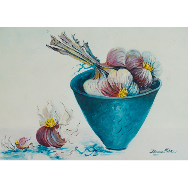 Pottered Bowl with Garlic 36x26cm - SOLD