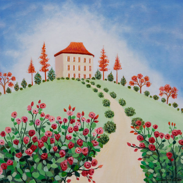Rose House- 30 x 30cm - SOLD