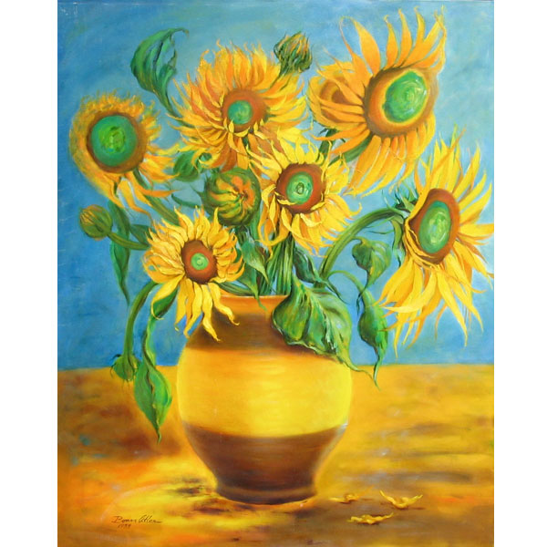Seven Sunflowers 63x76cm - SOLD