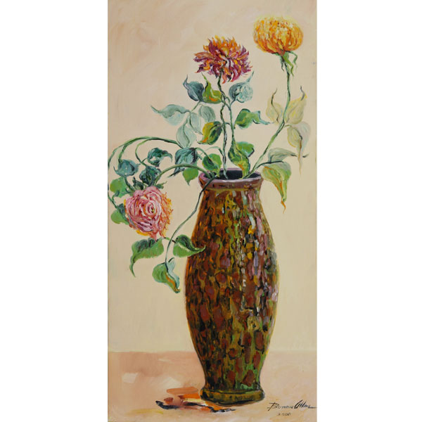 Three Roses in Tall Vase 20x40cm -SOLD