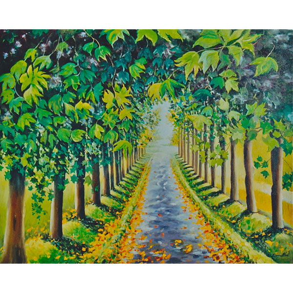 Tree Lined Road 30x24cm-$2,000 - SOLD