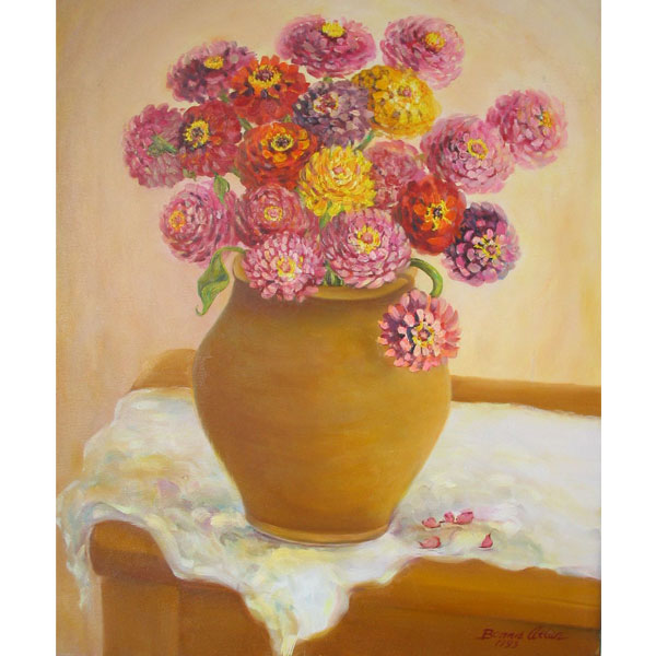 Zinnia's in Clay Pot 36x46cm- SOLD