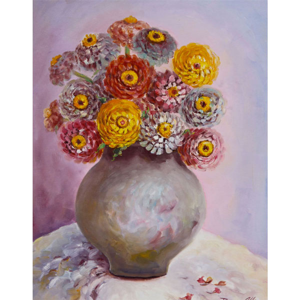 Zinnias in Grey Pot  $490