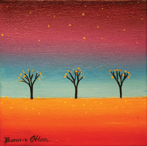 Little Black Trees 10 x 10cm - SOLD