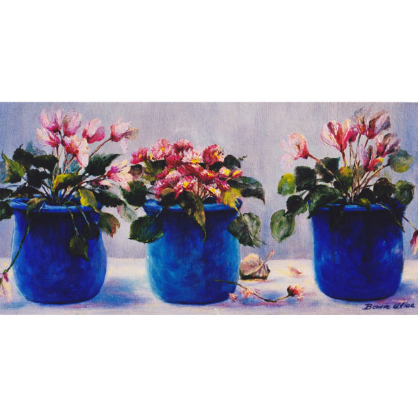 Blue Pots with Pink Flowers 40x20cm- SOLD