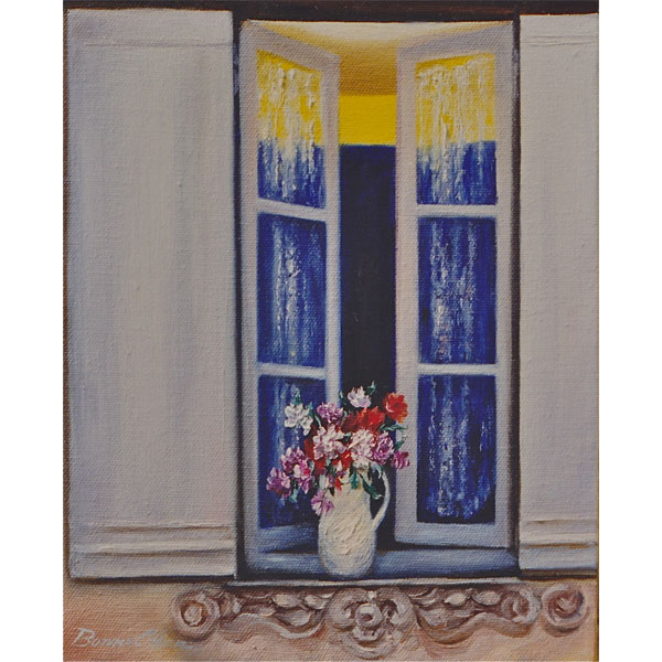 Vase of Flowers in Open Window 20x25cm- SOLD