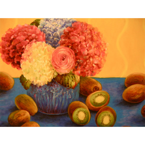 Flowers and Kiwis 61x46cm- SOLD