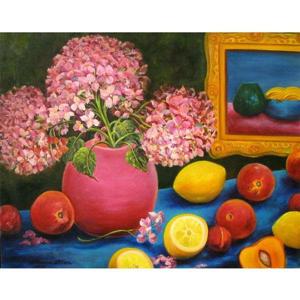 Hydrangeas and Plums 62x52cm - $950