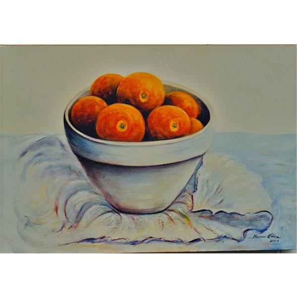 Oranges in Clay Bowl 26x36cm- SOLD