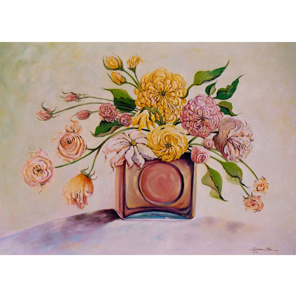 Bouquet in Square Glass Vase - SOLD