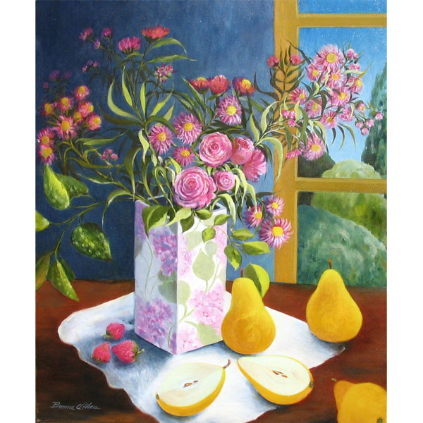 Pink Roses with Yellow Pears 53x63cm - SOLD