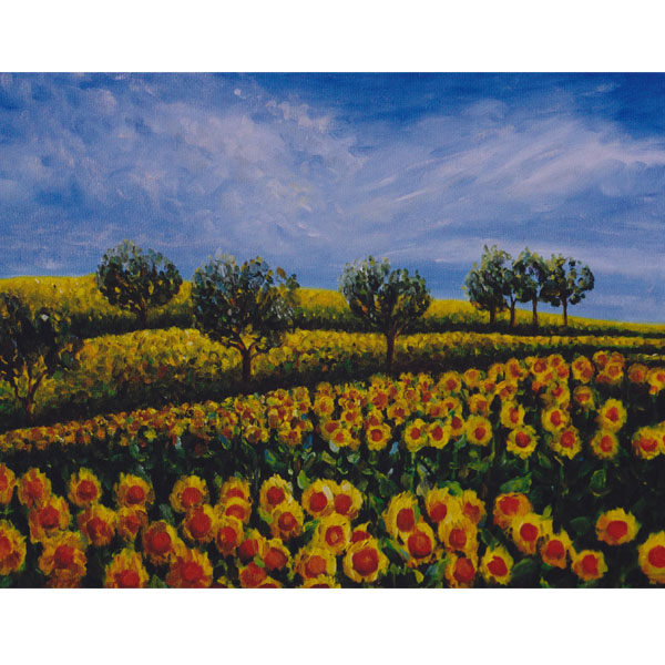 Sunflower Field with Blue Sky 36x28cm- SOLD