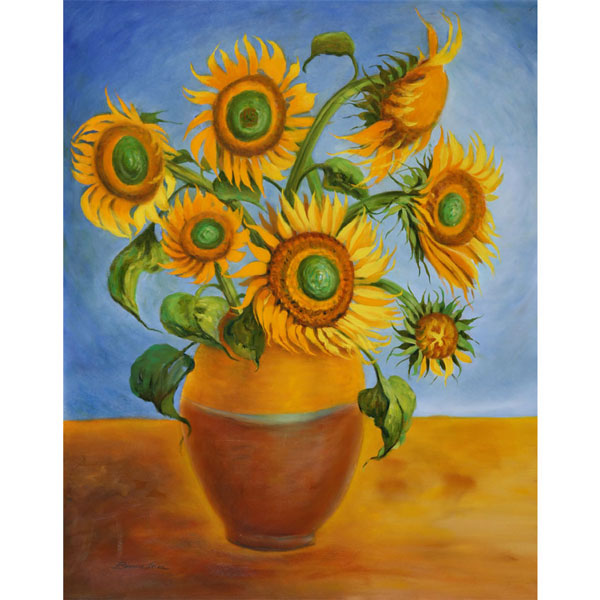 Seven Sunflowers 62x76cm - SOLD