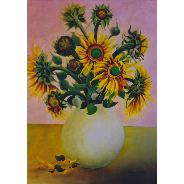 Sunflowers in Clay Pot 76x92cm- SOLD