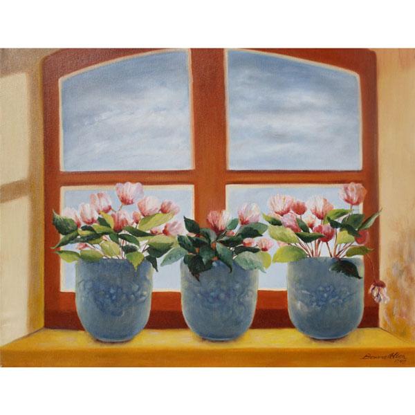 Three Blue Pots in Window 61x51cm- SOLD