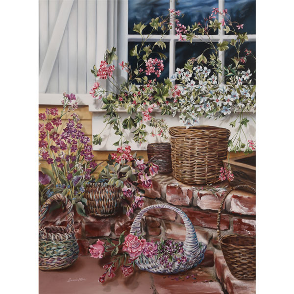 Baskets and Flowers 76x102cm- Artist's Collection