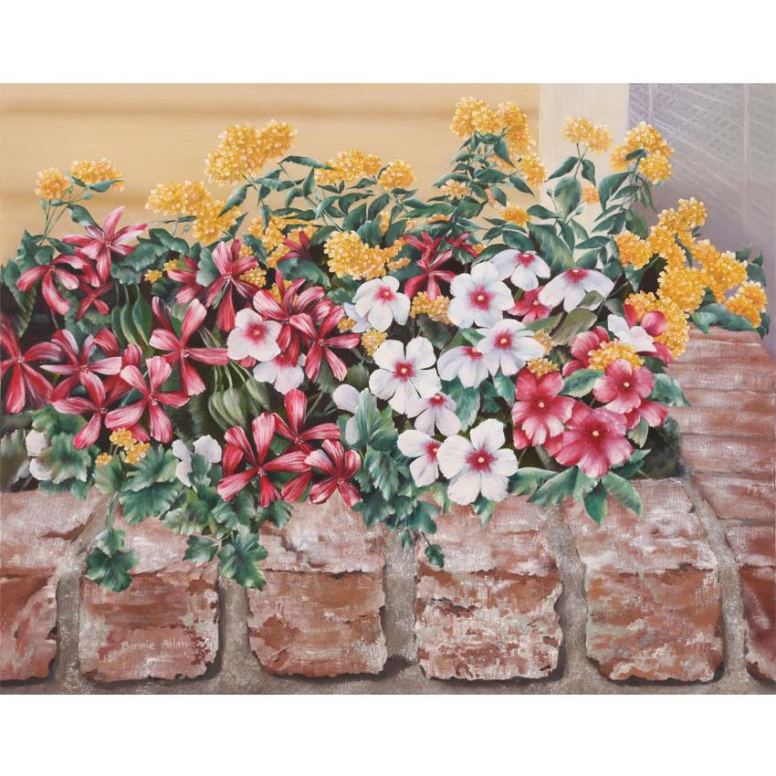 Impatients and Geraniums 76x62cm-