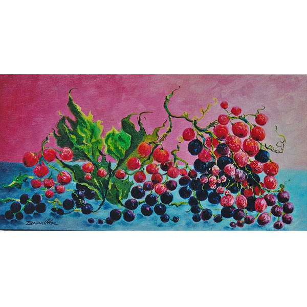 Red and Purple Grapes 20x40cm- SOLD