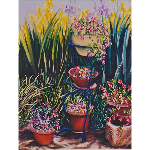 Pots of Flowers 26x36cm- SOLD