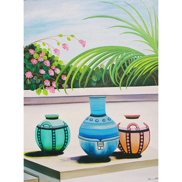 Three Coloured Pots 92x102cm