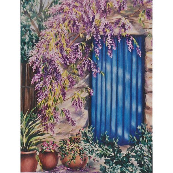 Wisteria and Blue Door 46x62cm- SOLD